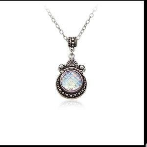 Opalescent Glass Mermaid Scale Pendant Necklace